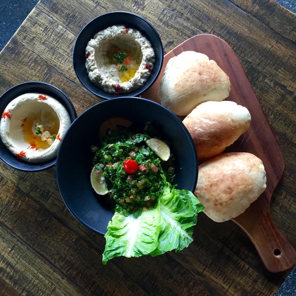 Tabbouleh salad hummus moutabal