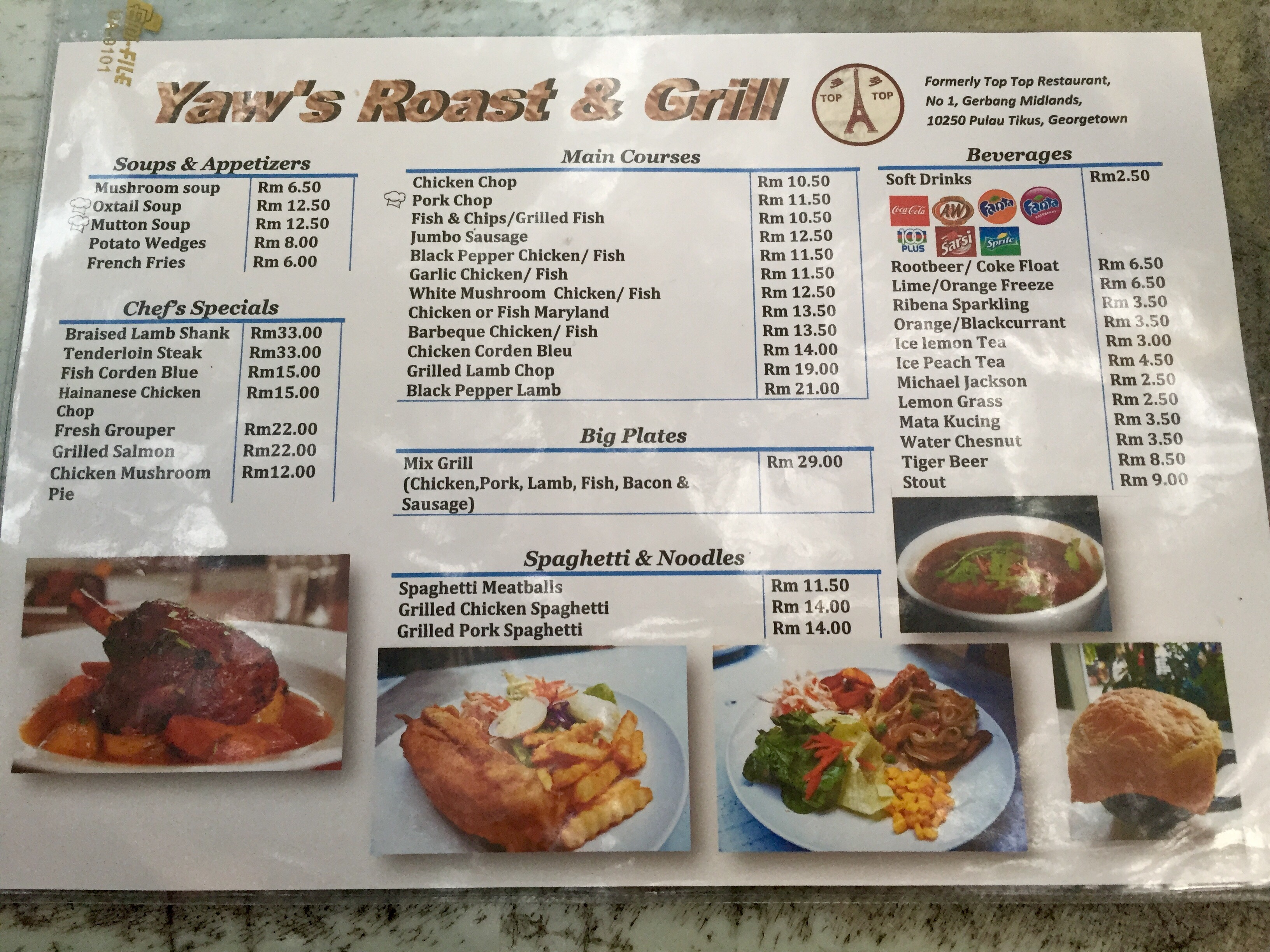 Eat like a local in penang yaws roast grill a home western food rm1050 and above for normal western foods such as chicken chop gorden blue maryland and it can goes up to rm35 for steak which is still a good price forumfinder Images