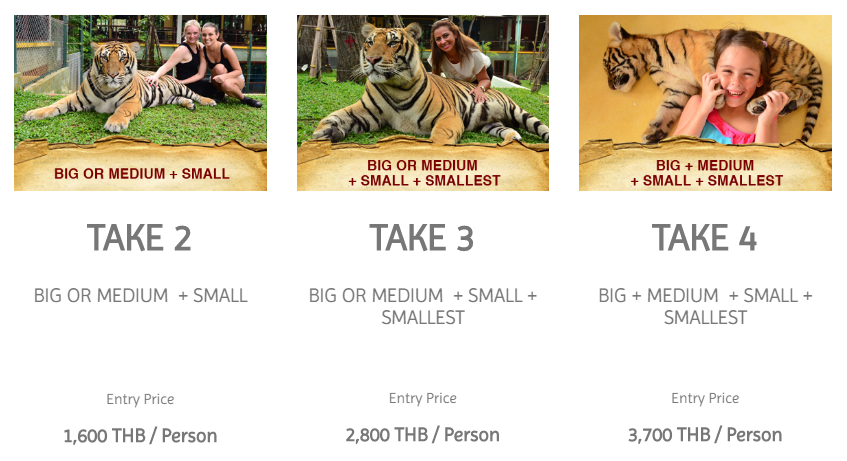 tiger kingdom chiang mai price list package
