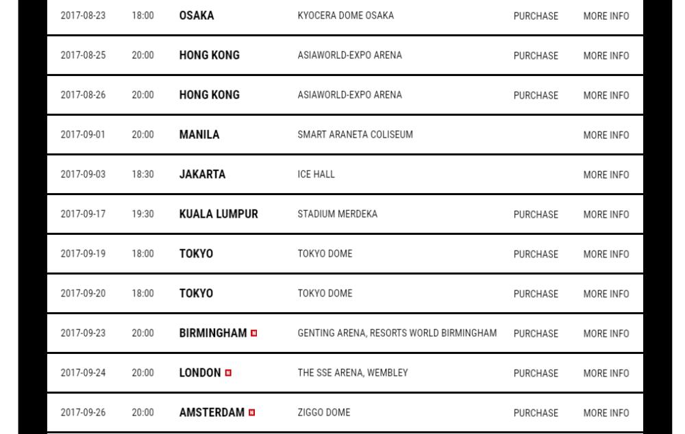 GD MOTTE world tour schedule