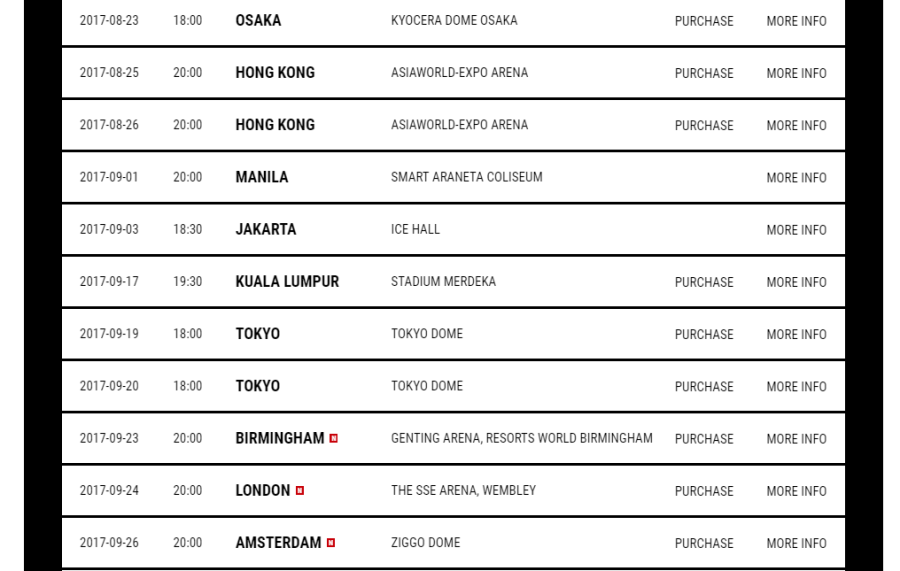 GD MOTTE world tour schedule