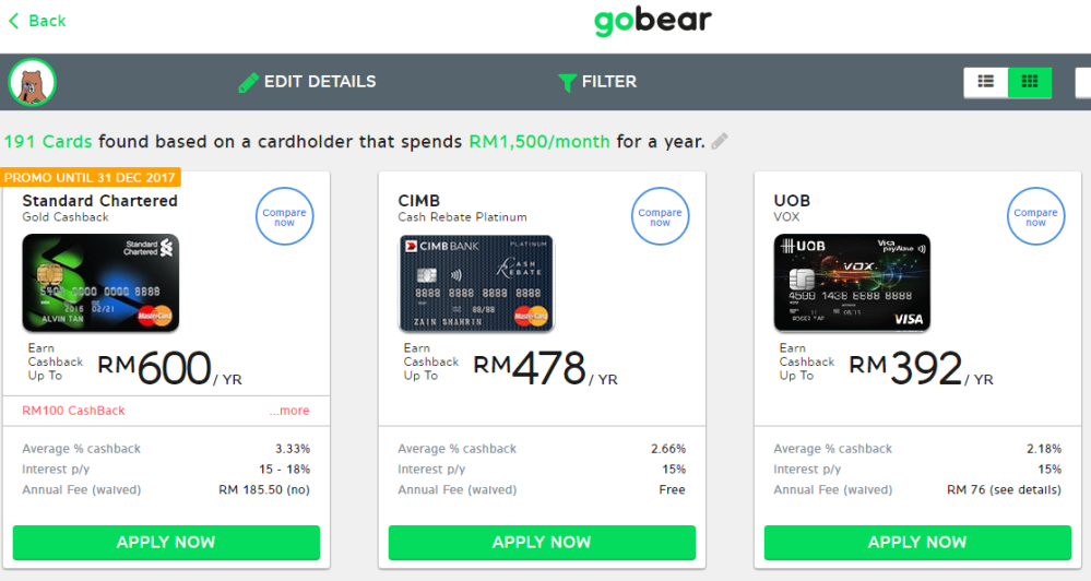 GoBear Best Credit Card in Malaysia for Online Shopping